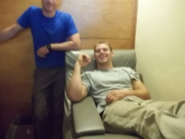 A few of us gave blood. Brent standing beside Troy Fiechter in support