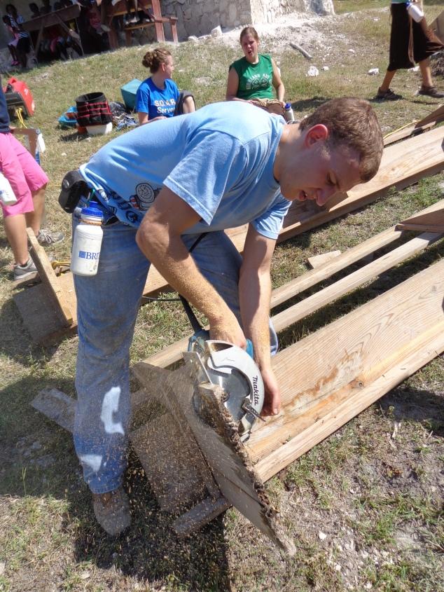 Matthew Gerber fixing benches