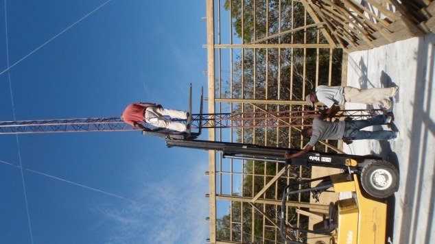 Tim working on putting trusses up on New Depot