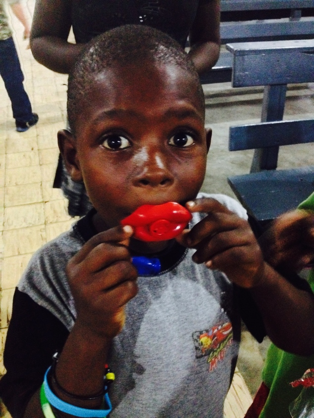 This little boy loved his whistle! Although the rain kept many of the kids from attending the kids club Sunday evening, the ones who traveled through the mud had a fun evening!