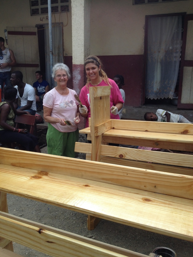 The ladies worked hard on the new benches!