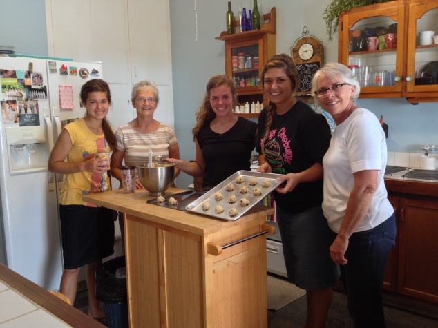 The great crew making the christmas cookies for the elderly. Left to right- Tianne, Jenny, Megan, Kyra, and Becky