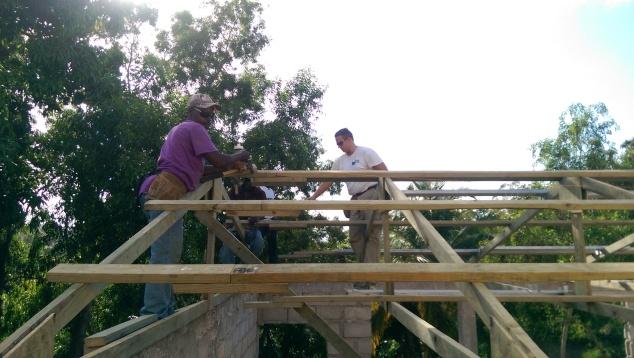 Team member Dan, and boss Verel working hard on the perlins