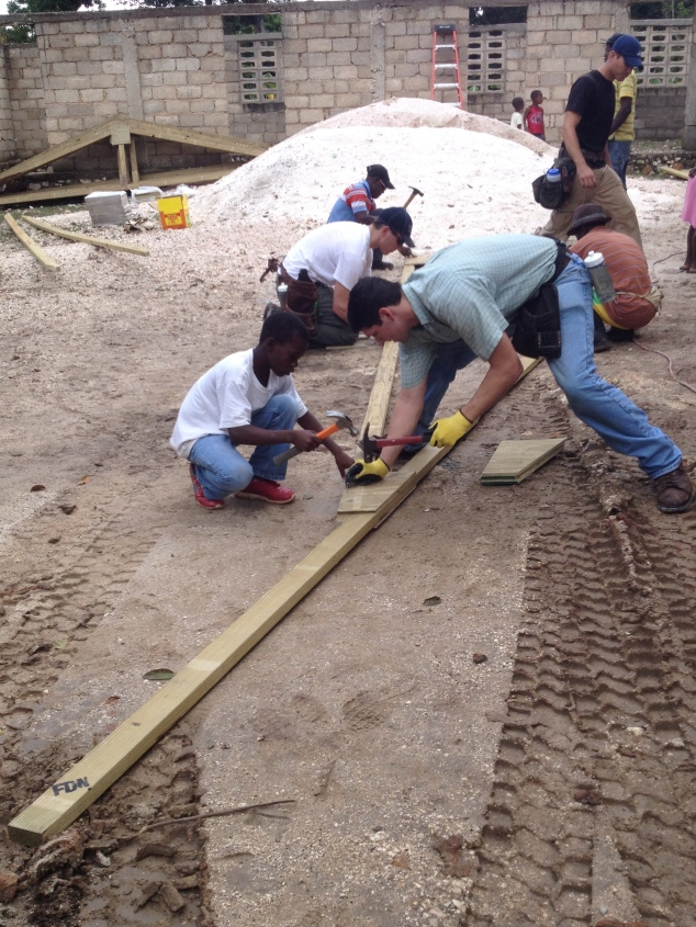 The guys did a great job working with the little boys, and letting them help out with the truss work.