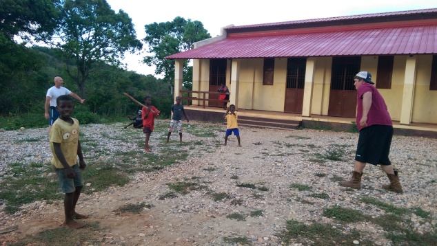 The team enjoyed an evening playing games with the children.  One team member even taught them how to play baseball:)